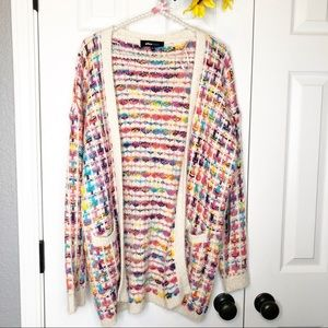 Alice Blue Rainbow Fuzzy Long Sweater Cardigan